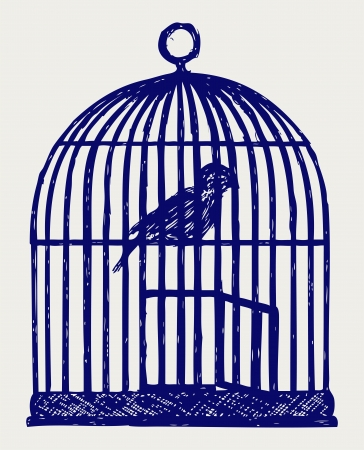 confined: An open brass birdcage and bird. Doodle style Illustration