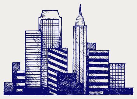 headquarter: Panoramic city. Doodle style Illustration