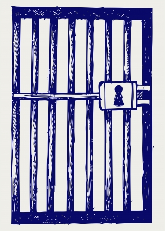 carcel: Prisión. Estilo Doodle Vectores