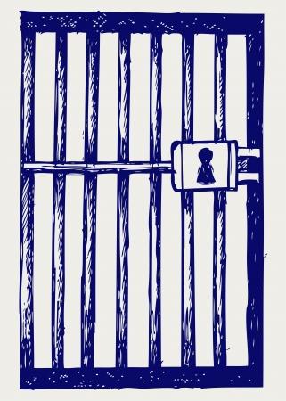 prison cell: Prison. Le style Doodle Illustration