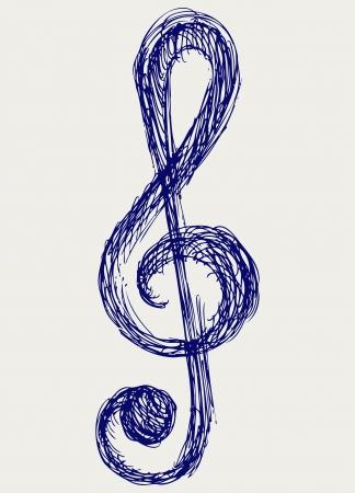 grunge music background: musical notes  Doodle style Illustration