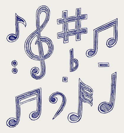 hand key: musical notes  Doodle style Illustration