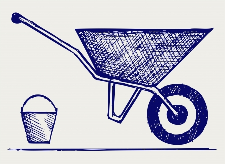 Garden wheelbarrow  Doodle style Vector