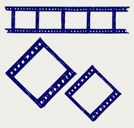 Film reel  Doodle style Vector