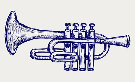 trumpet: Wind musical instrument  Doodle style