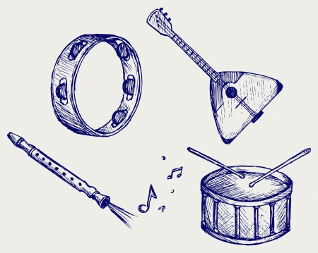 Music instruments  Doodle style Vector
