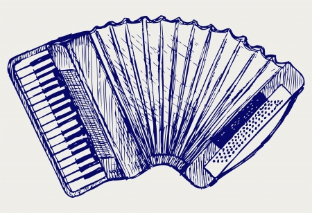 Accordion  Doodle style Vector