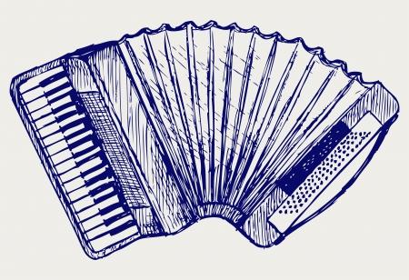 obsolete: Accordion  Doodle style Illustration