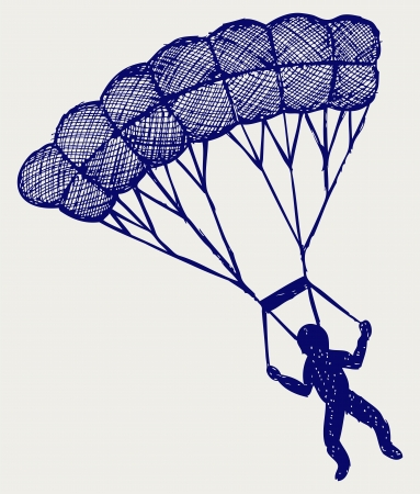 Man jumping with parachute  Doodle style Stock Vector - 16516297
