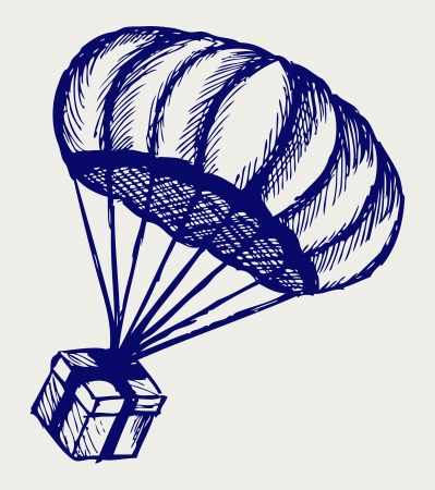 Present and parachute falling from the sky  Doodle style Vector