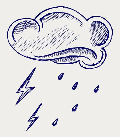 Cloud and rain  Doodle style Stock Vector - 16516127