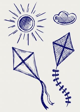 papalote: Cometas en el cielo estilo Doodle Vectores