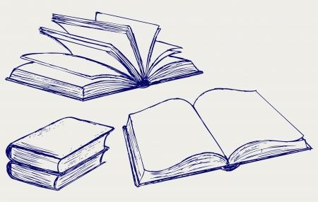 lijntekening: Vector illustratie van boeken geïsoleerd op de witte achtergrond