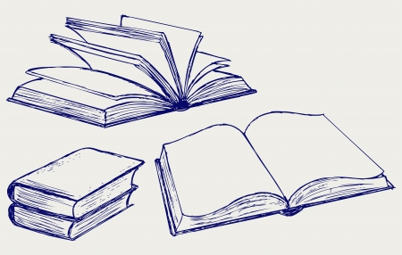 Vector illustration of books isolated on the white background