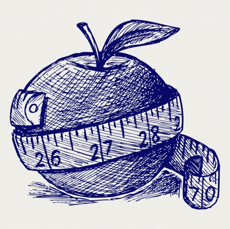 hand weight: Apple and measure tape. Doodle style