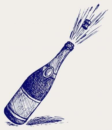 botella champa�a: Champagne explosi�n. Estilo Doodle