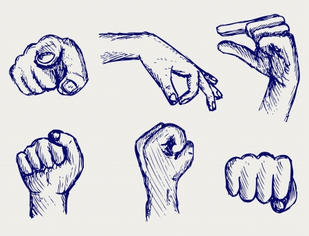 draw a sketch: Set of many different hands  Doodle style