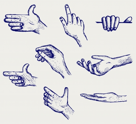 Set of many different hands  Doodle style Stock Vector - 16516252