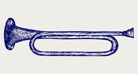 fanfare: Military trumpet  Doodle style Illustration