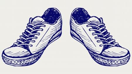 zapatos caricatura: Deportes zapatos Doodle estilo Vectores