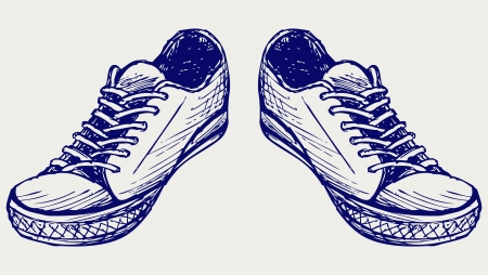 Sports shoes  Doodle style Vector