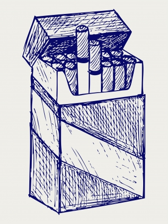 cigarette pack: Pack of cigarettes  Doodle style