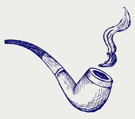 tobacco product: Tobacco pipe  Doodle style Illustration