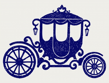 brougham: Vintage carriage  Doodle style