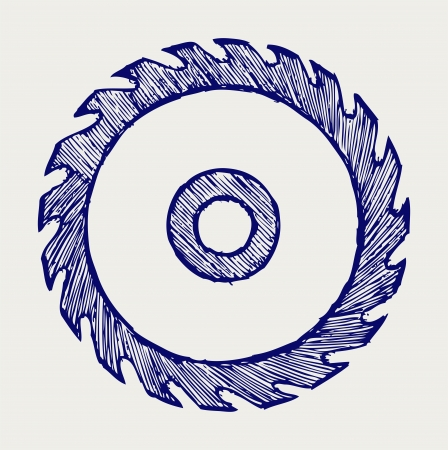 carpentry tools: Circular saw blade  Doodle style