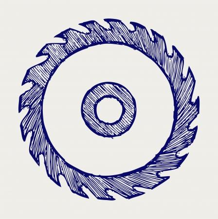 herramientas de carpinteria: Sierra circular estilo hoja Doodle Vectores