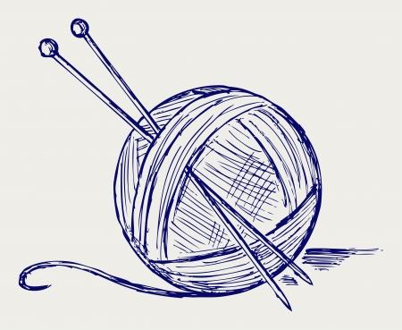 Bolas de hilo con agujas estilo Doodle Ilustración de vector