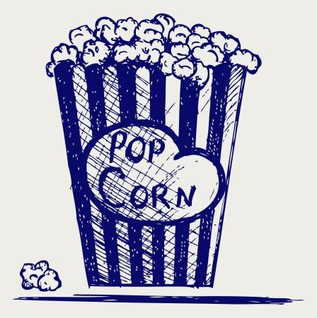 overflowing: Popcorn exploding inside the packaging. Doodle style