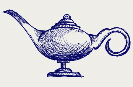 genie: Magic lamp. Doodle style Illustration