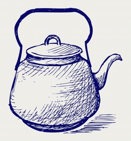 Vintage metal kettle. Doodle style Stock Vector - 16516159