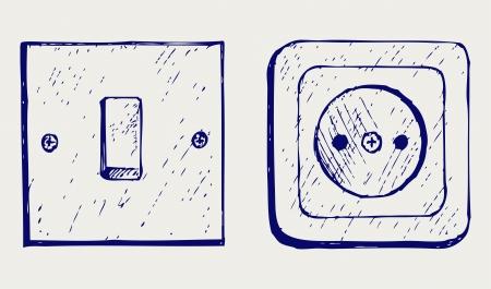 enchufe de luz: Interruptor de la luz individual y el zócalo. Estilo Doodle