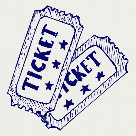 Cinema ticket. Doodle style Vector