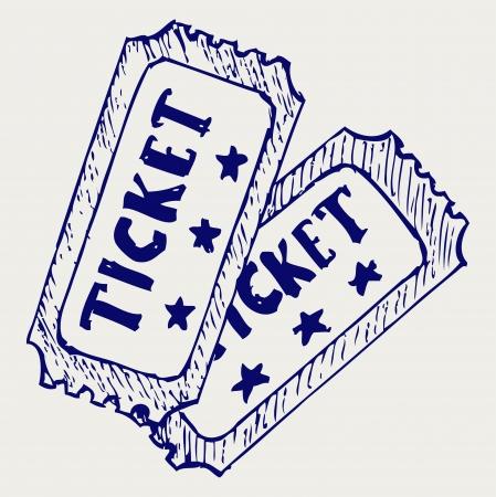 admit one ticket: Cinema ticket. Doodle style Illustration