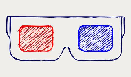 3-D Glasses. Doodle style Stock Vector - 16516137