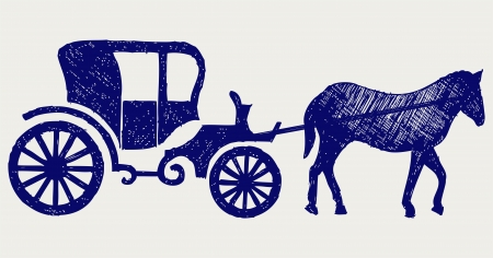brougham: Vintage carriage and horse. Doodle style