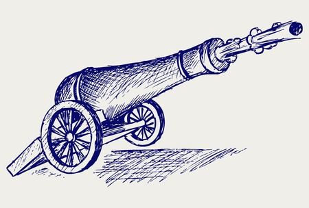 Cannon. Doodle style Vector