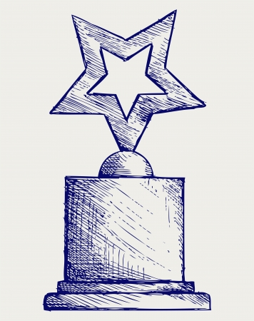 Star award against. Doodle style Stock Vector - 16516196