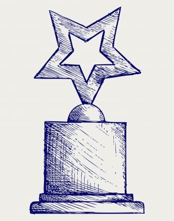 award trophy: Star award against. Doodle style