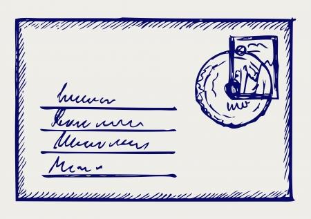 vintage envelope: Sketch envelope Illustration