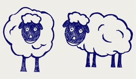 mouton cartoon: Cartoon moutons. Le style Doodle