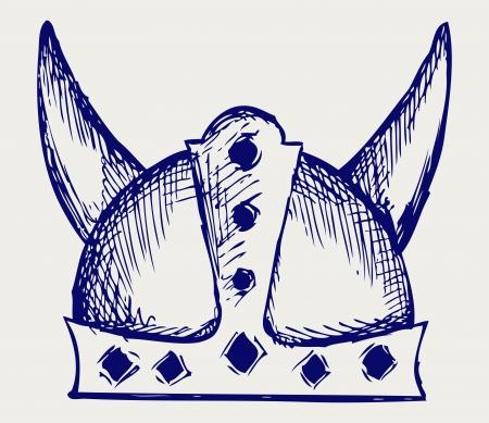 viking helmet: Viking helmet. Doodle style
