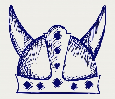 viking: Viking helmet. Doodle style