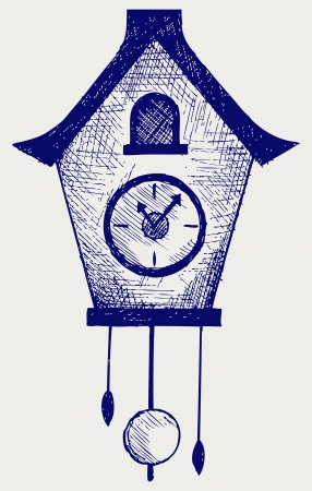 Cuckoo Clock. Doodle style Vector