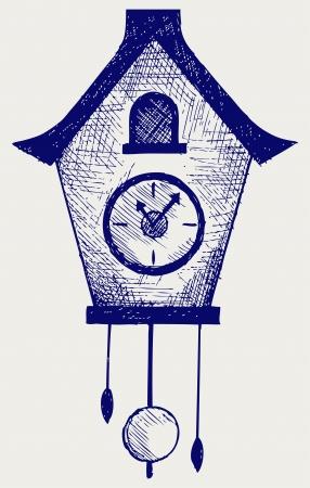 reloj cucu: Reloj de cuco. Estilo Doodle