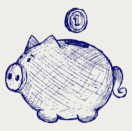 Gold coin fall into a piggy bank. Doodle style Vector