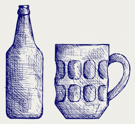 grunge bottle: Mug and bottle beer. Doodle style